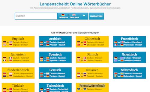 немецкий онлайн словарь Langenscheidt
