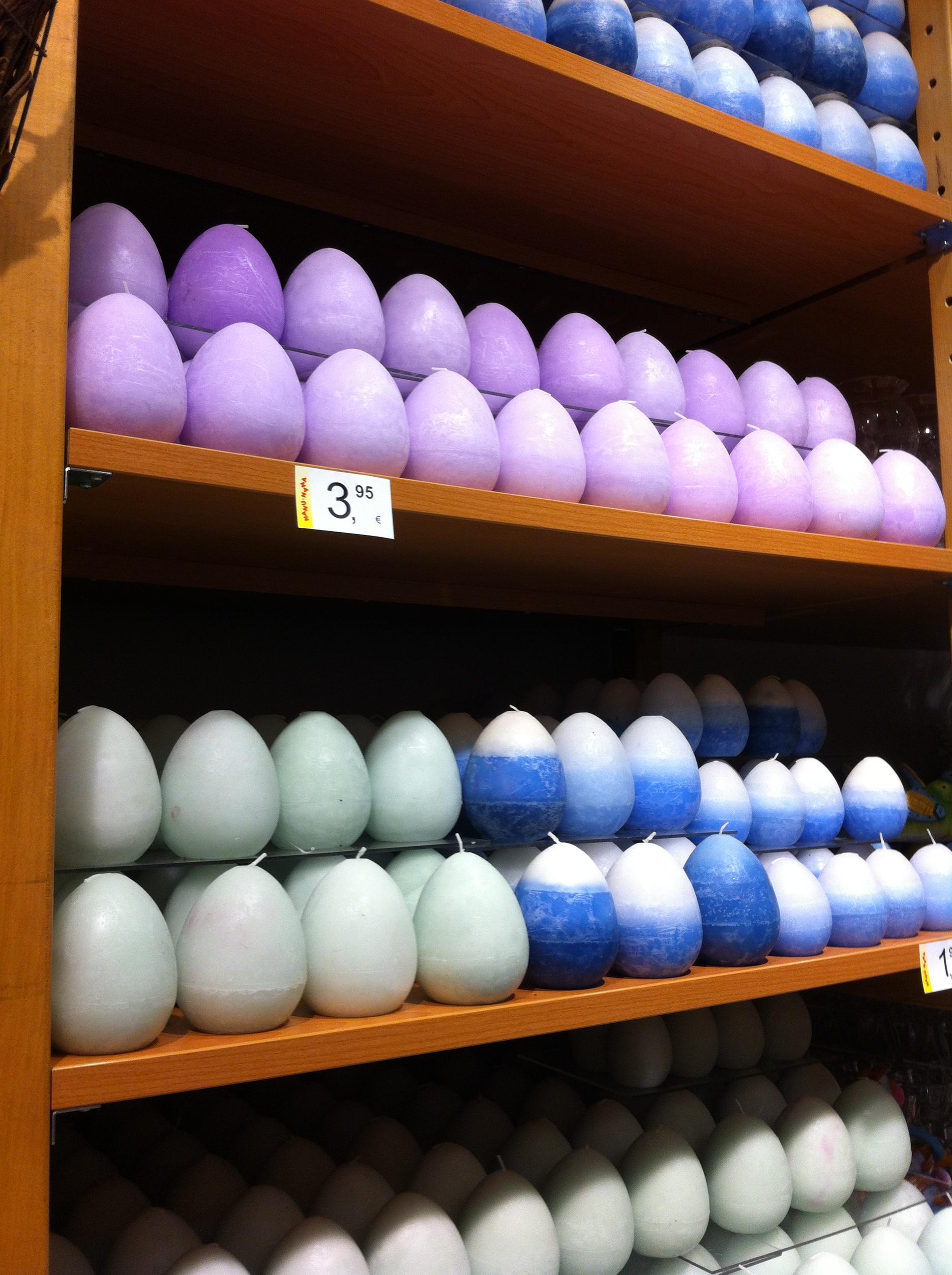 немецкая Пасха 2015 и свечки в виде пасхальных яиц