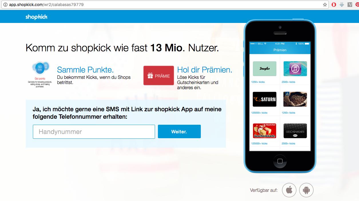Экономим благодаря SHOPKICK - немецкоe приложениe на смартфон