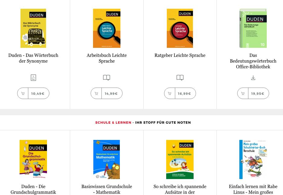 Duden сайт и их продукция, словари